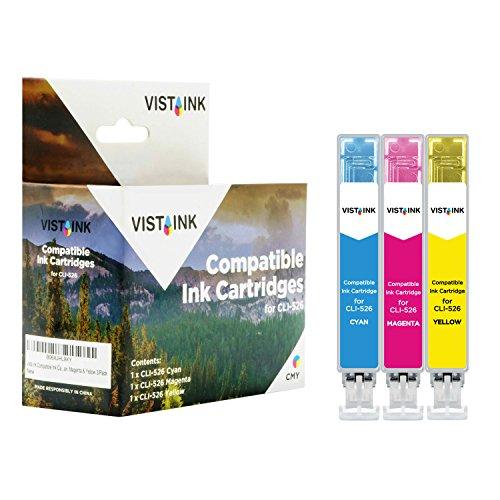 Vista Ink Cartucce Compatibili Canon 526 CLI-526 CLI 526 Cartucce Campatibili Canon Pixma iP4850 MG5150 MG5250 MG6150 MG8150 iX6550 MX88 Ciano Magenta Giallo C/M/Y - Inchiostro Compatibile, Pacco da 3
