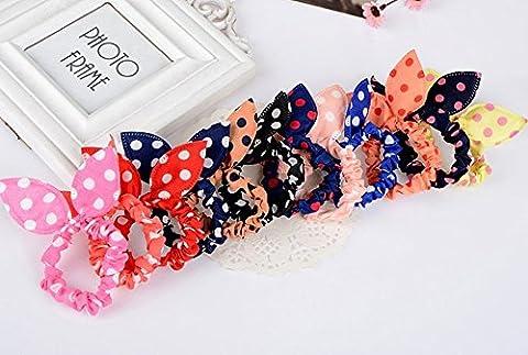 asentechuk® Lot de 20Wave point Motif pois et rayures motif floral cheveux corde en forme d'oreille lapin Bandeau cheveux bande de cheveux fille Accessoires cheveux 5cm Big Dot
