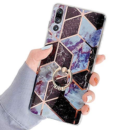Herbests Kompatibel mit Huawei P20 Pro Hülle Bunt Marmor Muster TPU Silikon Handyhülle Glänzend Bling Glitzer Diamant Strass Ring Halter Ständer Crystal Case Tasche Schutzhülle,Braun