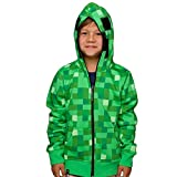 Minecraft Creeper Hooded Jacket Green for Children with Creeper Hood and Game Logo - 7/8 Jahre