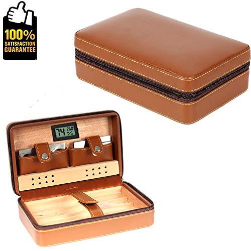 COMMODA Portable Echtes Leder Zeder Zigarre Reisetasche Zeder Humidor mit Cutter Feuerzeug Set Holzkiste(Braun) - Feuerzeug Zigarren-cutter Und