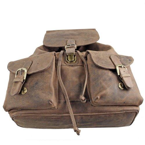 Greenburry Vintage Sac à dos en cuir 27 cm Marron Sattelbraun 35x36x20 Marron - Sattelbraun