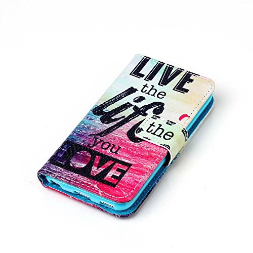 Camiter PU Leder Cover Tasche Schutz Hülle Handyhülle Silikon Back Cover Schutz Schutzhüllen mit Stand Magnetverschluss Credit Card Holder für Apple iPhone SE /iPhone 5 /iPhone 5S Handyhüllen (Meer) + Meer
