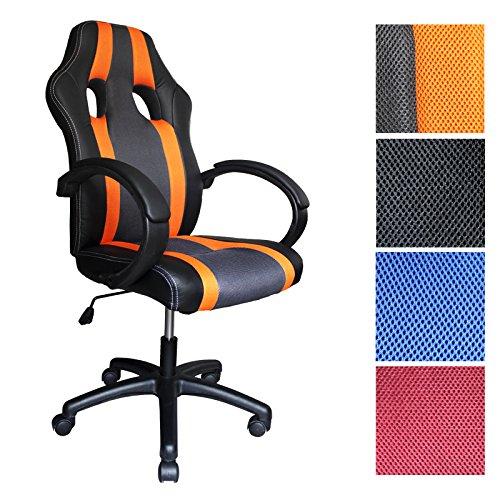 HG® PU Racing Stuhl Bürostuhl Komfort Chefsessel Drehstuhl orange Höhenverstellbar Belastbarkeit 120 kg