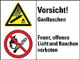 LEMAX® Kombischild mit Symb.Vorsicht! Gasflaschen...,ISO 3864,Kunststoff,200x150mm