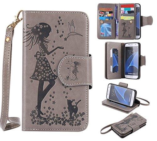 Nancen Compatible with Handyhülle Galaxy S7 / SM-G9300 (5,1 Zoll) Hülle, Prägung Mädchen Schmetterling Blume Vögel und Katze Muster Doka-Tasche [Grau] -