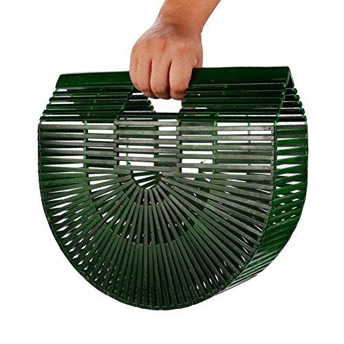 Henkeltaschen, Damen Handgelenkstaschen Bambus Handtasche Handgefertigt Große Taschen Strandtaschen Strand Umhängetasche Shopper (Grün) (Damen Bambus Tasche)