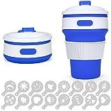 Silikon Kaffeetasse mit auslaufsicherer Deckel, Senhai 12Oz zusammenklappbar, tragbar Reise Wasser Tasse für Rucksackreisen Camping Wandern Picknick, BPA-frei, mit 16PCS Kaffee Schablonen–Blau