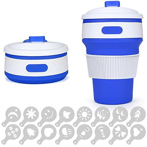 Coque en silicone pliable Tasse à café avec couvercle anti-fuite, Senhai 340,2gram pliable portable Mug Eau de transport pour camping randonnée pique-nique, sans BPA, avec 16pcs Café Pochoirs–Bleu