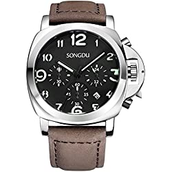 SONGDU Men's Black Chronograph Date Watchs Arabic Numbers Luminous Dial with Brown Leather Strap