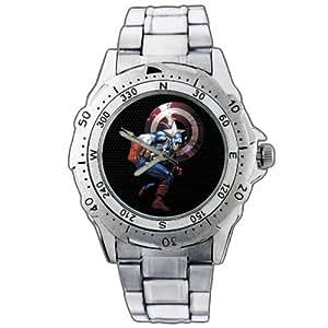 Montre-bracelet Montre Hommes cadeau Noël EPSP142 Captain America Movie Comic Super Hero Stainless Steel Wrist Watch