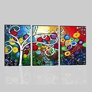 Quadri moderni trittici olio su tela dipinti a mano albero for Quadri trittici moderni