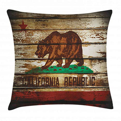 HLKPE Flag Throw Pillow Cushion Cover, Grunge California Flag on Rustic Boards Grunge Weathered Design, Decorative Square Accent Pillow Case, Vermilion Brown Cream and Green,26 X 26 Inches