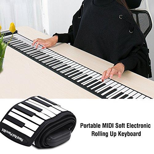 Roll Up Klavier Tragbare Flexible 88 Tasten Elektronische Tastatur Handaufrollen Klavier Eingebaute Li-on-Batterie (1100 mAh) (Aufrollen Klavier + Pedal + USB-Kabel + Gleichstromkabel)