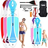 Miweba Sports Stand Up Paddling Board - Aufblasbar - Bis 70 kg Tragkraft - 3 Finnen - Doppelhub Pumpe - 230x65x10 cm (Ariki Cool Blue, Kids / 65 cm)