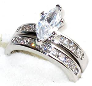 New Improved! Never Tarnish Eye Catching Marquise Ring Set With Simulated Diamonds Running Down Each Side. Matching Band. Stainless Steel Highest Grade. Stamped 316.