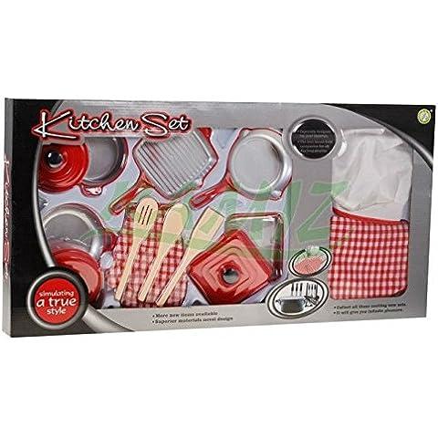 Set da cucina per gioco da cucina 14 pezzi NF5820B-17 - utensili da pentole e set da cucina con il grembiule, guanti, cappello Chef - Set Cucina - Cucina Giocattoli