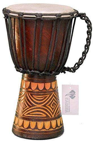 Kascha - Professionelle 30cm Djembe Trommel Bongo Drum Buschtrommel Afrika-Style handgeschnitzt aus Mahagoni Holz Design 6