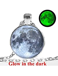 Rack Jack New Arrival Handmade Moon Necklace Glass Dome Lunar Eclipse Pendant - Green