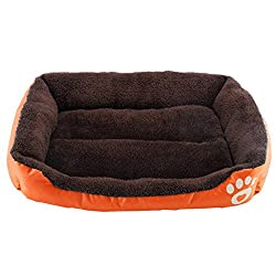 TOOGOO(R) Dog Bed Kennel Cat Pet Puppy Bed House Soft Warm, Orange M