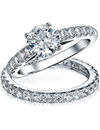 Bling Jewelry 925 Silver Bridal Solitaire CZ Engagement Wedding Ring Set
