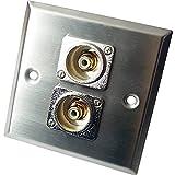 CableFinder, RCA/Phono-Steckdose, Wandfrontplatte, Gebürsteter Stahl, Metall, Audio, Subwoofer, Verstärker/AMP, Mixer, Lautsprecher, 2 Stück