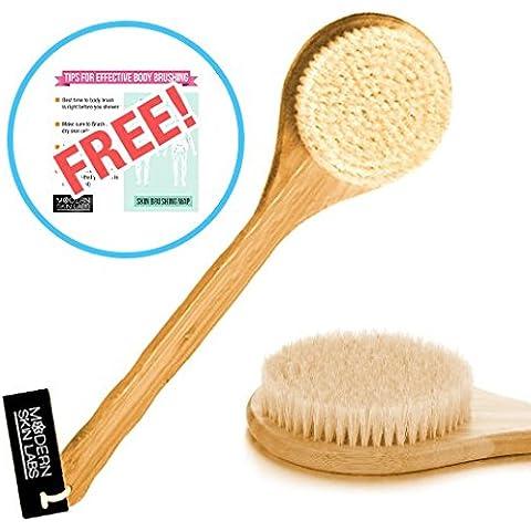 PREMIUM dry cepillo de cuerpo para Skin cepillado * Bono tutoriales * Natural, cerdas de jabalí, mango largo, Spa de bambú, brocha–seco cepillado para celulitis, exfoliación, Detox–sin preocupaciones