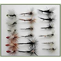 TroutfliesUK Parachute Trout Fishing Flies, 18 Pack, 5 Varieties, Choice of Sizes Available. For Fly Fishing