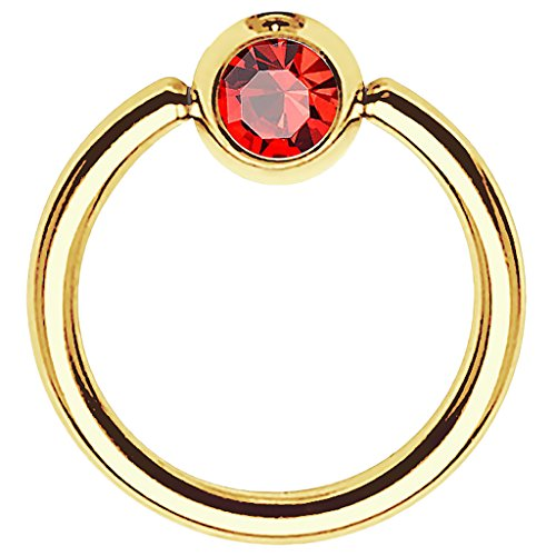 Piersando BCR Piercing Ring Universal Klemmring mit Zirkonia Kristall Klemm Kugel für Septum Brust Tragus Helix Nase Lippe Ohr Intim Nippel Chirurgenstahl Gold Rot 1,2mm x 8mm x 3mm