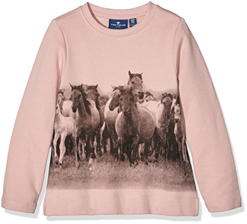 TOM TAILOR Kids sweat with print, Felpa Bambina, Rosa (twinkle pink), 110 (Taglia Produttore: 104/110)