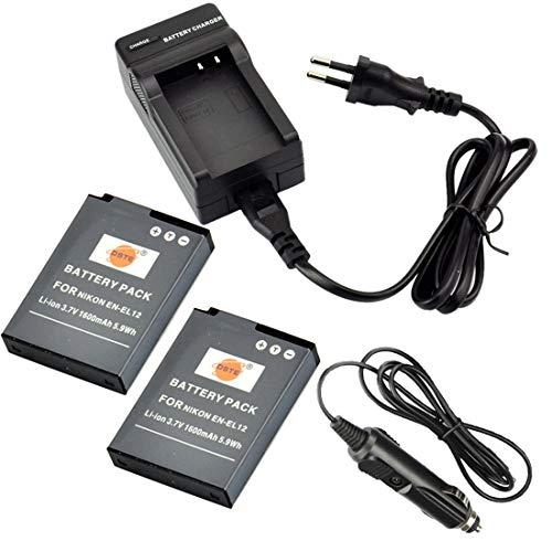 DSTE 2-pacco Ricambio Batteria + DC03E Caricabatteria per Nikon EN-EL12 Coolpix P300 P310 P330 P340 S31 S70 S610 S620 S630 S640 S800c S1000pj S1100pj S1200pj S6000 S6100 S6150 S6200 S6300
