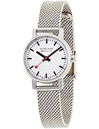 Mondaine Women's Quartz Watch with White Dial Analogue Display and Silver Stainless Steel Bracelet