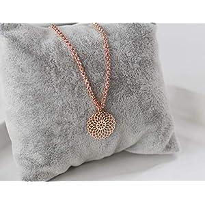Halskette rose vergoldet Anhänger Wunderblume rosegold farben, filigran, Geschenk Idee