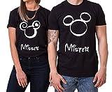 Kopf Mister Misses Partnerlook Camiseta de los Pares Dulce para Parejas como Regalos, Größe2:S;Partner Shirts:Damen T-Shirt Schwarz