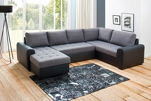 Avanti trendstore - merlin - divano ad angolo con funzione letto e cassettone integrato in microfibra, nero / grigio, penisola lunga ordinabile a sinistra o a destra (penisola destra)
