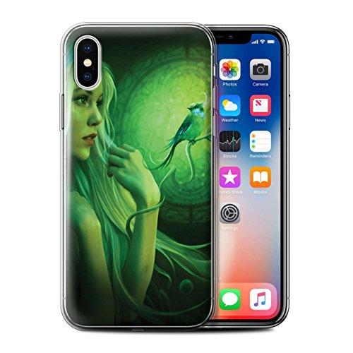 Offiziell Elena Dudina Hülle / Gel TPU Case für Apple iPhone X/10 / Schöne Pfau Muster / Die Vögel Kollektion Freie Vögel/Glasmalerei