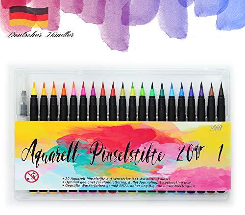 YvMi Aquarell Pinselstifte Set 20 Aquarellfarben, 1 Wassertankpinsel - Handlettering zum Malen, Zeichnen - Farbenfrohe Filzstifte Kalligraphie - Brush Pen Stifte Tagebuch Frohe Ostern, Pinselset