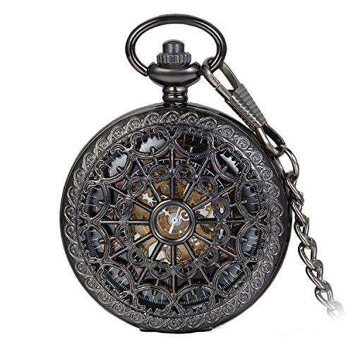 Avaner Taschenuhr Gotik Steampunk schwarz Hohlen Openwork Skelett Handaufzug mechanische Uhrwerk...