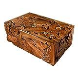 Vakarua Couchtisch aus Wurzelholz Element Sofatisch 110x70 mit Glas Wohnzimmertisch Holz