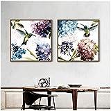 Pequeño hortensia púrpura fresca colibrí flores pinturalienzo cuadros decoración moderna...