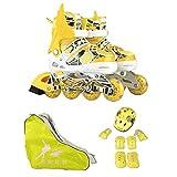 Kinderinliner Inlineskates - Größenverstellbar über Vier Größen - Leuchtende Frontrollen