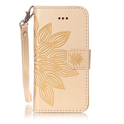 Custodia iPhone 5S,SainCat Custodia in pelle Protettiva Flip Cover per iPhone SE,Anti-Scratch Protettiva Caso Elegante Creativa Dipinto Pattern Design PU Leather Flip Ultra Slim Sottile Morbida Portaf doro#1