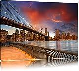 Brooklyn Bridge Park New York Format: 60x40 auf Leinwand, XXL riesige Bilder fertig gerahmt mit Keilrahmen, Kunstdruck auf Wandbild mit Rahmen, günstiger als Gemälde oder Ölbild, kein Poster oder Plakat