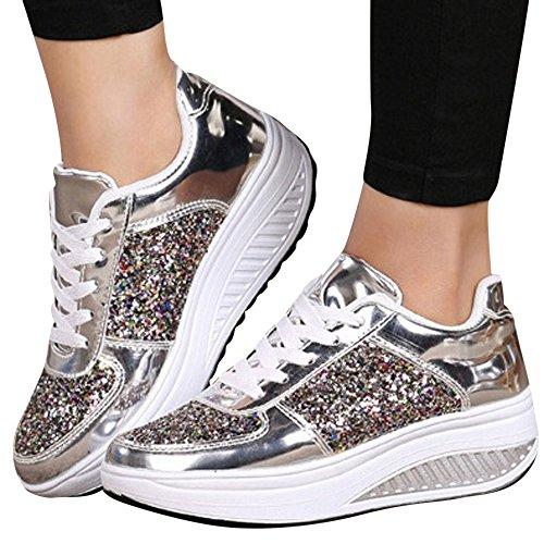 rivenditore di vendita c1512 4173c Beikoard Sneakers Donna con Zeppa, Paillettes, Scarpe Stringate, Scarpe  Fashion, Scarpe Sportive da Donna