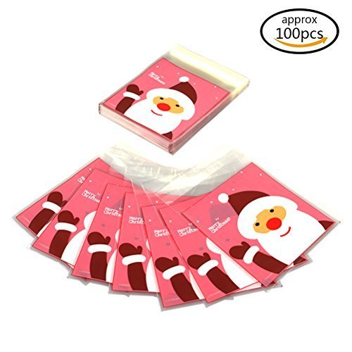 TO_GOO Au Goo Lot de 100 Sac cellophane de Noël Candy Sac Autocollant de Noël Sweet Cookies Emballage Sac Cadeau fête de Noël s