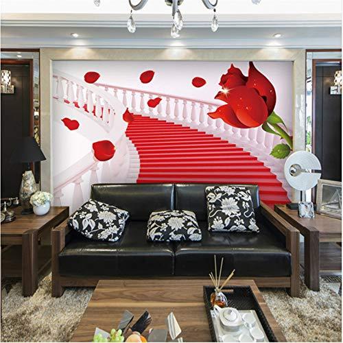 Preisvergleich Produktbild Xbwy Maßgeschneiderte Große L 3D Tapete 3D Minimalistisch Wohnzimmer Sofa Rosen Verziert Schlafzimmer 3D Wallpaper Tv Hintergrund-280X200Cm