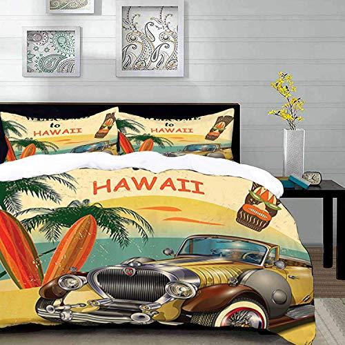 Bettwäsche-Set, Mikrofaser,1960er Jahre, Willkommen auf Hawaii Retro American Pop Kunstdruck mit alten Autopalmen Stammes-Maske und Surfbrette 1 Bettbezug 220 x 240cm + 2 Kopfkissenbezug 80x80cm
