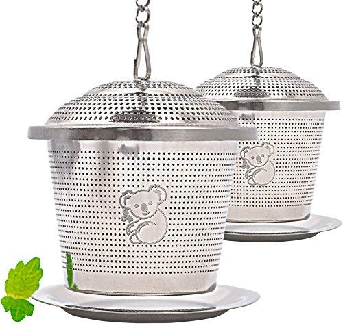 Premium Edelstahl Teeei | hochwertiges Teesieb & Teefilter | Teekugel für losen Tee | feinster Teegenuss im edlem Veloursbeutel (grau) von wellvary - 2er Set