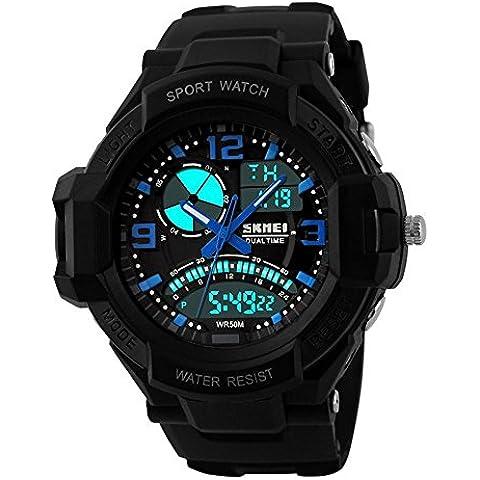 GL Uomo orologio digitale Sport Watch gomma cinturino doppio movimento notte vista LCD Light, Blu