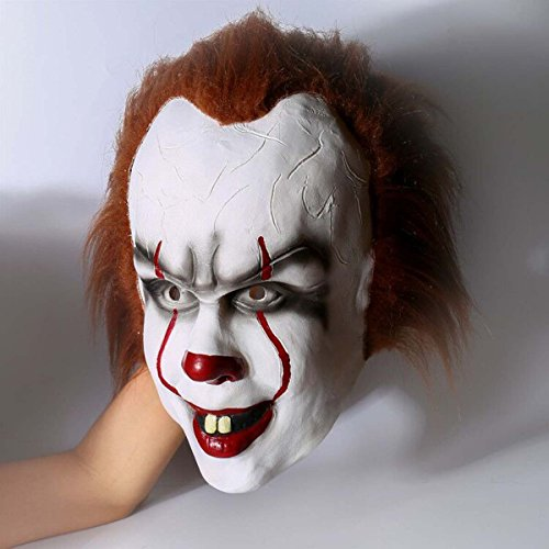 Yacn Gruselige Zombie halloween maske herren,Stephen King's mask für Erwachsene ,scream halloween clown maske weiß,Stephen King's mask |Pennywise halloween scary mask latex Männe mask scary costume cosplay (Penny (Erwachsene Scream Maske)